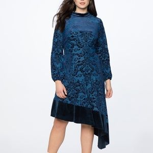 Eloquii Blue Velvet Mock Neck Asym Dress Size 20